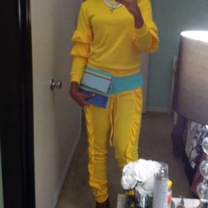 Yellow Jogger, Two piece Jogging Suit